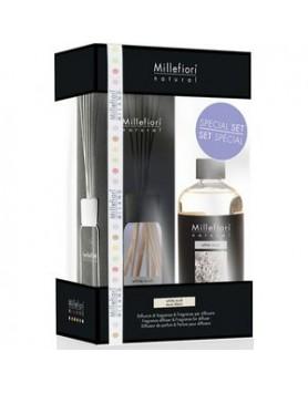 Millefiori Natural giftset geurstokjes White Musk 100ml + refill